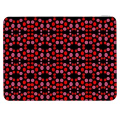 Dots Pattern Red Samsung Galaxy Tab 7  P1000 Flip Case by BrightVibesDesign