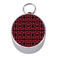 Dots Pattern Red Mini Silver Compasses by BrightVibesDesign