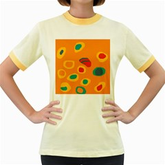 Orange Abstraction Women s Fitted Ringer T Shirts by Valentinaart