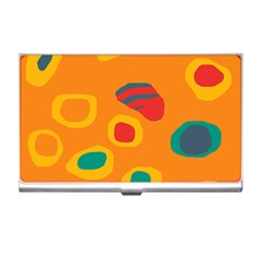 Orange Abstraction Business Card Holders by Valentinaart