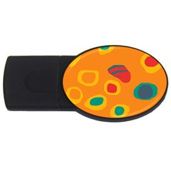 Orange Abstraction Usb Flash Drive Oval (2 Gb)  by Valentinaart
