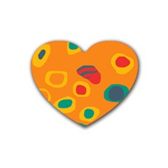 Orange Abstraction Rubber Coaster (heart)  by Valentinaart