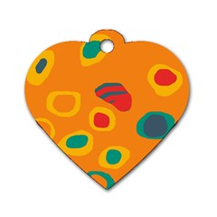 Orange Abstraction Dog Tag Heart (one Side) by Valentinaart