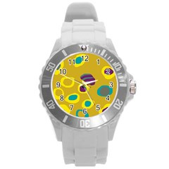 Yellow Abstraction Round Plastic Sport Watch (l) by Valentinaart