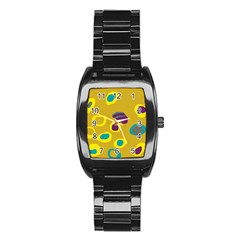 Yellow Abstraction Stainless Steel Barrel Watch by Valentinaart