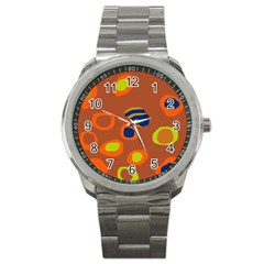 Orange Abstraction Sport Metal Watch by Valentinaart