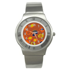 Orange Abstraction Stainless Steel Watch by Valentinaart