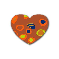 Orange Abstraction Heart Coaster (4 Pack)  by Valentinaart