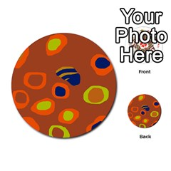Orange Abstraction Multi Purpose Cards (round)  by Valentinaart