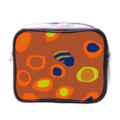 Orange Abstraction Mini Toiletries Bags by Valentinaart
