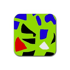 Green Abstraction Rubber Coaster (square)  by Valentinaart