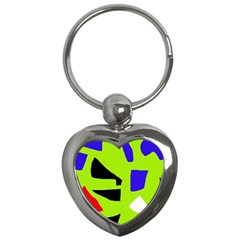 Green Abstraction Key Chains (heart)  by Valentinaart