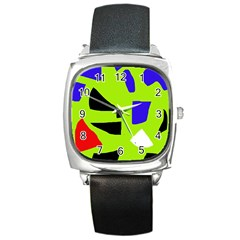 Green Abstraction Square Metal Watch by Valentinaart