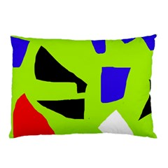 Green Abstraction Pillow Case by Valentinaart