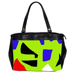 Green Abstraction Office Handbags (2 Sides)  by Valentinaart