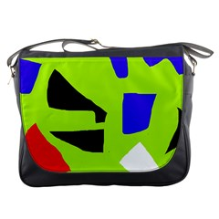 Green Abstraction Messenger Bags by Valentinaart