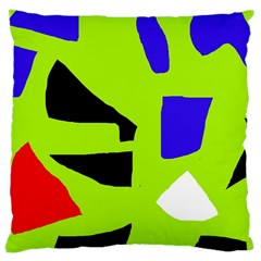Green Abstraction Large Cushion Case (one Side) by Valentinaart