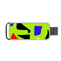 Green Abstraction Portable Usb Flash (one Side) by Valentinaart