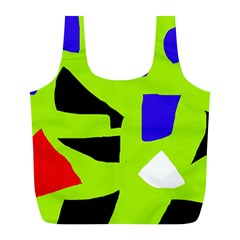 Green Abstraction Full Print Recycle Bags (l)  by Valentinaart