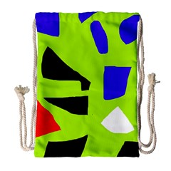 Green Abstraction Drawstring Bag (large) by Valentinaart