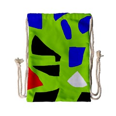 Green Abstraction Drawstring Bag (small) by Valentinaart