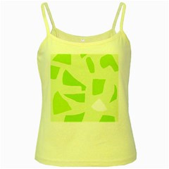 Green Abstract Design Yellow Spaghetti Tank