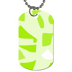 Green Abstract Design Dog Tag (two Sides) by Valentinaart