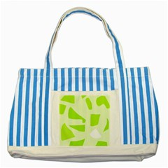 Green Abstract Design Striped Blue Tote Bag by Valentinaart