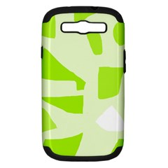Green Abstract Design Samsung Galaxy S Iii Hardshell Case (pc+silicone) by Valentinaart