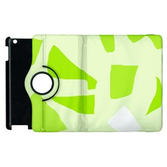 Green Abstract Design Apple Ipad 3/4 Flip 360 Case by Valentinaart