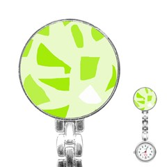 Green Abstract Design Stainless Steel Nurses Watch by Valentinaart