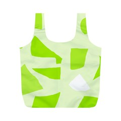 Green Abstract Design Full Print Recycle Bags (m)  by Valentinaart