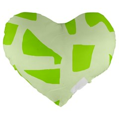 Green Abstract Design Large 19  Premium Flano Heart Shape Cushions by Valentinaart