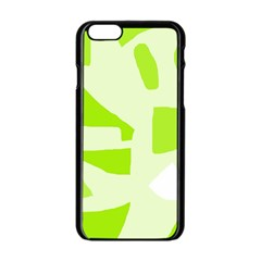 Green Abstract Design Apple Iphone 6/6s Black Enamel Case by Valentinaart