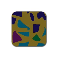 Colorful Abstraction Rubber Square Coaster (4 Pack)  by Valentinaart