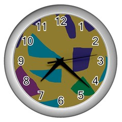 Colorful Abstraction Wall Clocks (silver)  by Valentinaart