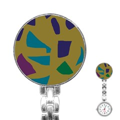 Colorful Abstraction Stainless Steel Nurses Watch by Valentinaart