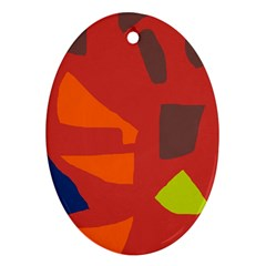 Red Abstraction Ornament (oval)  by Valentinaart