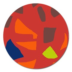 Red Abstraction Magnet 5  (round) by Valentinaart