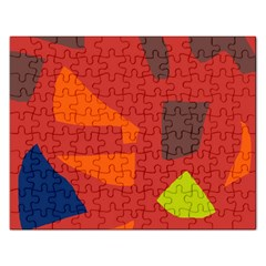 Red Abstraction Rectangular Jigsaw Puzzl by Valentinaart