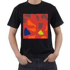 Red Abstraction Men s T-shirt (black) (two Sided) by Valentinaart