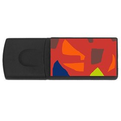 Red Abstraction Usb Flash Drive Rectangular (4 Gb)