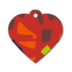 Red Abstraction Dog Tag Heart (one Side) by Valentinaart