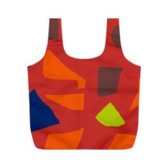 Red Abstraction Full Print Recycle Bags (m)  by Valentinaart