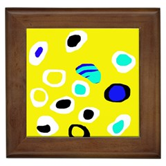 Yellow Abstract Pattern Framed Tiles by Valentinaart