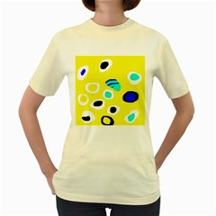 Yellow Abstract Pattern Women s Yellow T-shirt by Valentinaart