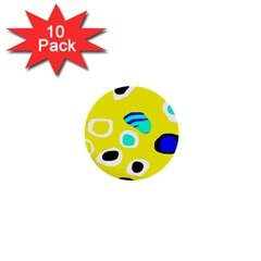 Yellow Abstract Pattern 1  Mini Buttons (10 Pack)  by Valentinaart