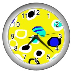 Yellow Abstract Pattern Wall Clocks (silver)  by Valentinaart