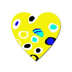 Yellow Abstract Pattern Heart Magnet by Valentinaart