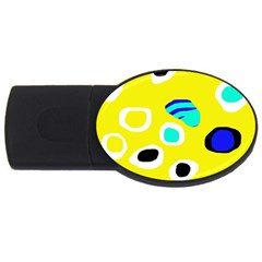 Yellow Abstract Pattern Usb Flash Drive Oval (4 Gb)  by Valentinaart